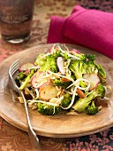 Pan-fried broccoli with radishes, beansprouts and dried fruit