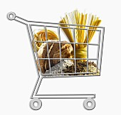 Mini supermarket trolley full of granary products