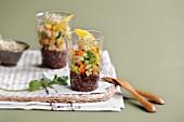 Black quinoa, surimi and vegetable Verrine
