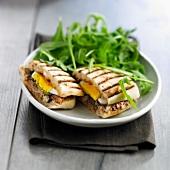 Sardine and egg toasted sandwich