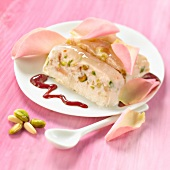 Ice cream nougat with rose petals