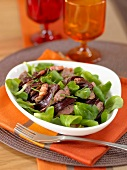 Beetroot, lamb's lettuce and chicken liver salad