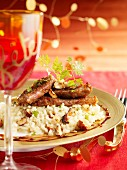 Duck's breast coated in gingerbread crumbs,risotto with hazelnuts