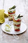 Asparagus,pepper and yoghurt sauce Verrines