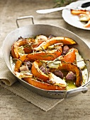 Roast pumpkin with rosemary,onions and Halloumi cheese