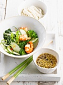 Vegetable and shrimp salad with sesame sauce
