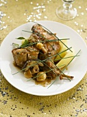 Rabbit with wild mushrooms