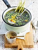 Pea and sweet corn soup with citronella