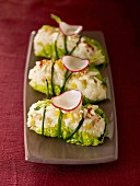 Lettuce, goat's cheese and radish Sushis