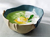 Cream of cauliflower and broccoli soup with haddock