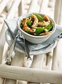 Dublin Bay prawn,sugar pea and pink peppercorn salad