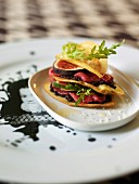 Potato, beef, fig and tapenade Mille-feuille
