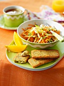 Carrot salad and poppyseed Financiers