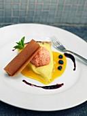 Slice of lemon tart and rose petal ice cream