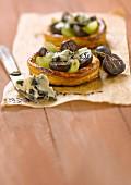 Roquefort and grape tartlets