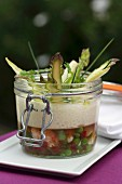 Shrimps and vegetables in aspic with asparagus emulsion