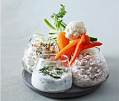 Raw vegetables and three dips