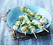 Scallop, mushroom and cucumber brochettes