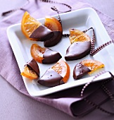 Confit orange slices dipped in chocolate