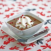 Cream of lentil soup with pink peppercorns