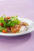 Small vegetable cakes with chili pepper sauce and mixed salad