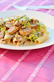 Rigatonis with veal in cream sauce,cabbage and mushrooms