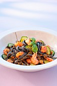 Squid ink tagliatelles with crayfish
