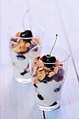 Fromage blanc with cherries and thinly sliced almonds