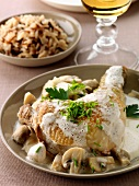 Chicken with mushrooms,chives,rice and creamy sauce