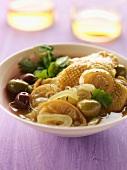 Chicken, citrus confit and olive Tajine