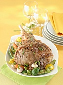 Leg of lamb with spring vegetables