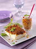 Thick piece of fish coated with red pesto, bulghour Verrine