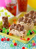 White chocolate cereal bars with chocolate and marshmallow bears