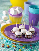 Marshmallow-Lollipops mit Schokolade