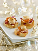 Vanilla-flavored petoncle scallops on small toasts