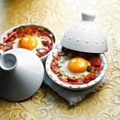 Individual egg and tomato Tajines