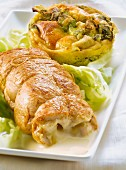 Stuffed chicken breast and lettuce Flan