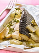 Mackerel and Swiss chard cooked in wa paper