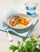 Grilled chicken breast, steamed carrots and tarragon sauce