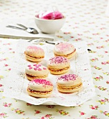 White chocolate and raspberry macaroons