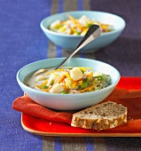 Vegetable and scallop soup