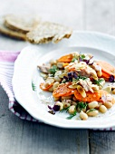 Flageolets bean,carrot and grilled almond salad