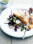 Warm salmon with salad