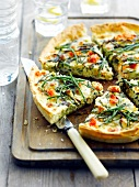 Samphire, tomato and ricotta quiche