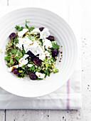 Quinoa,bean and feta salad