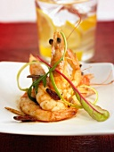 Gambas with Guindilla pepper, garlic, olive oil and lemon