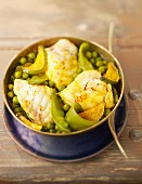 Monkfish, pea and saffron Tajine