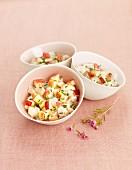 Sea bream,peach and apple tartare
