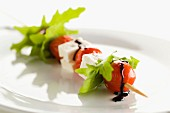 Cherry tomato, rocket lettuce and feta brochette