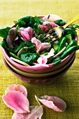 Spinach and raw mushroom salad with rose petals